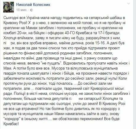 Депутат: Сегодня вся Украина имела возможность посмотреть на сепарский шабаш в Кривом Роге, фото-1