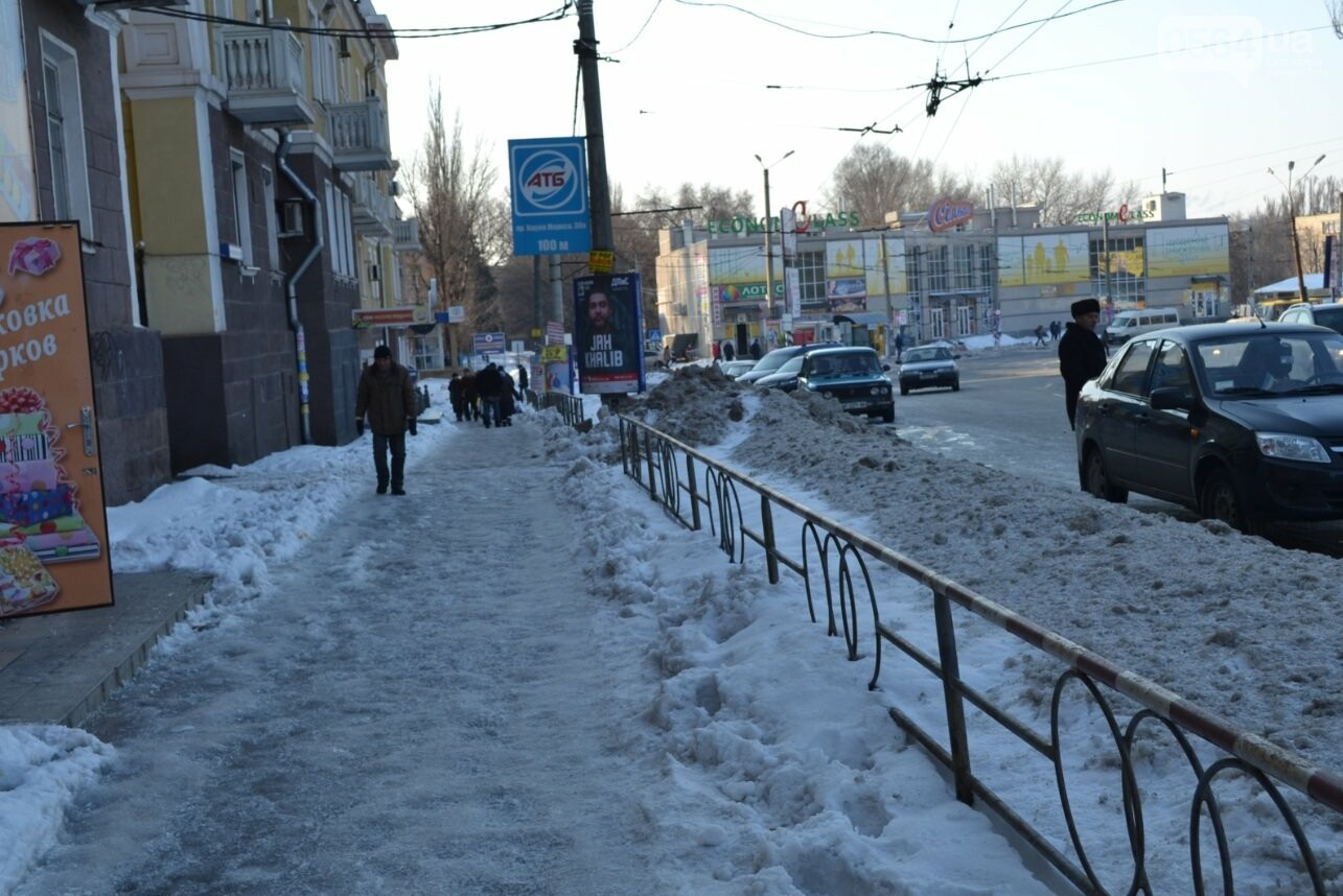 Внимание, гололед: В Кривом Роге проезжая часть для пешеходов безопаснее, чем тротуары (ФОТО), фото-13