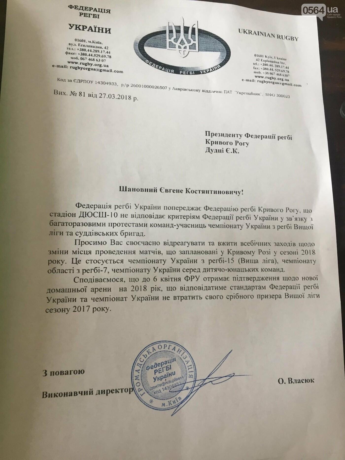 """""""В Пятихатках поле есть, а в Кривбассе нет"""": регбисты получили предупреждение от ФРУ, фото-1"""