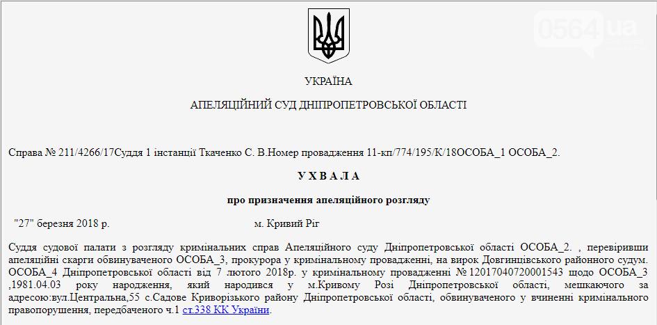 В Кривом Роге Апелляционный суд рассматривает жалобу мужчины, осужденного за надругательство над Флагом Украины , фото-1