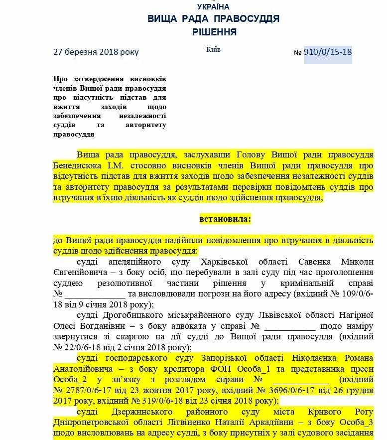 ВСП не увидел оснований для реагирования по жалобе криворожской судьи на активистов (ДОКУМЕНТ), фото-1