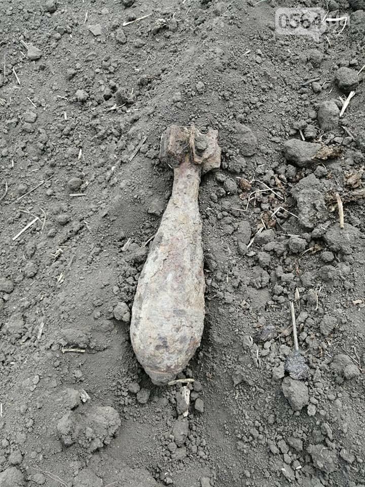 На поле под Кривым Рогом найдена минометная мина, - ФОТО, фото-1