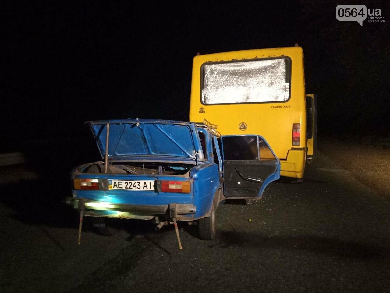 "В пассажирский автобус ""Кривой Рог - Днепр"", стоявший в темноте на дороге, въехал ""ВАЗ"",  - ФОТО, фото-1"