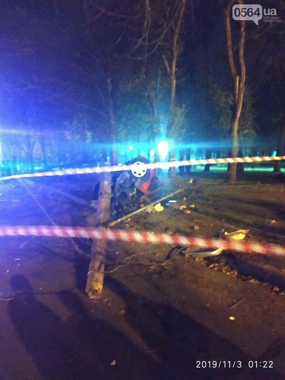 В центре Кривого Рога иномарка снесла фонарный столб и дерево и разлетелась на части, - ФОТО, фото-1