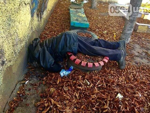 В Кривом Роге на детской площадке обнаружен труп мужчины, - ФОТО 18+, фото-1