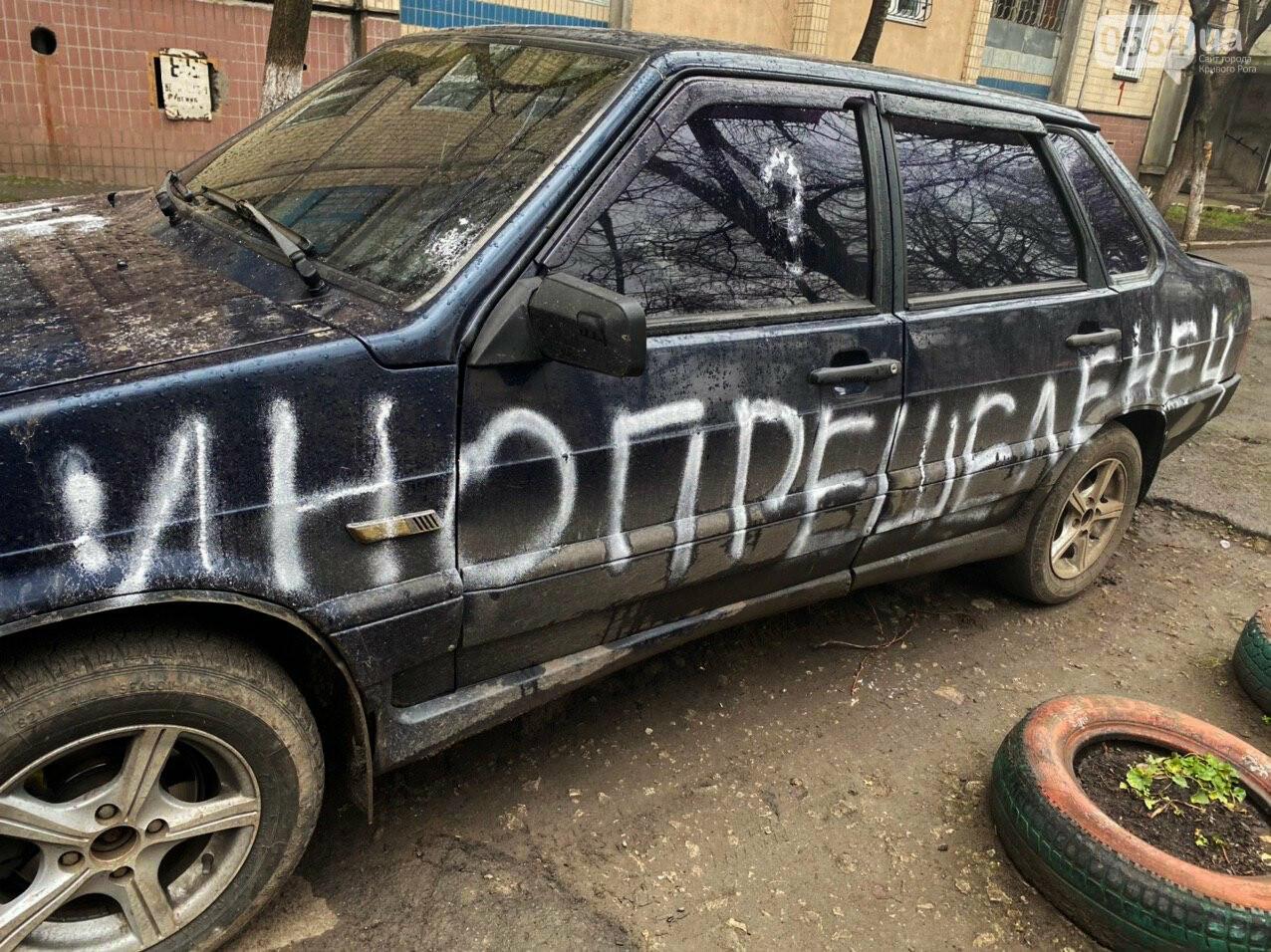 """""""За рулем бандит"""": в Кривом Роге ночью обрисовали припаркованный во дворе автомобиль, - ФОТО , фото-9"""
