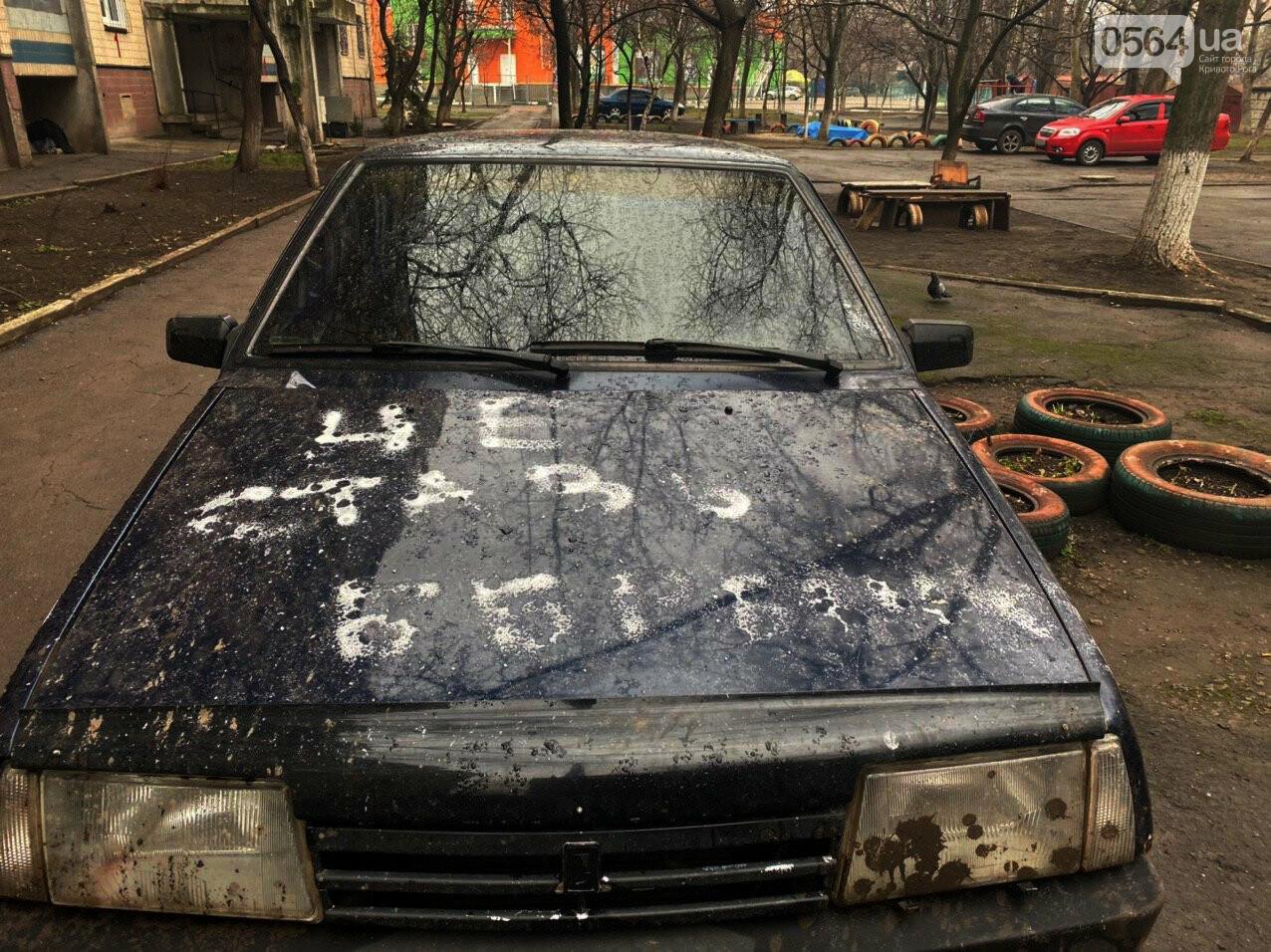 """""""За рулем бандит"""": в Кривом Роге ночью обрисовали припаркованный во дворе автомобиль, - ФОТО , фото-8"""