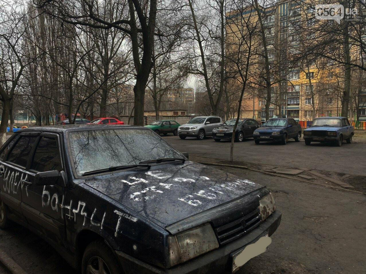 """""""За рулем бандит"""": в Кривом Роге ночью обрисовали припаркованный во дворе автомобиль, - ФОТО , фото-7"""