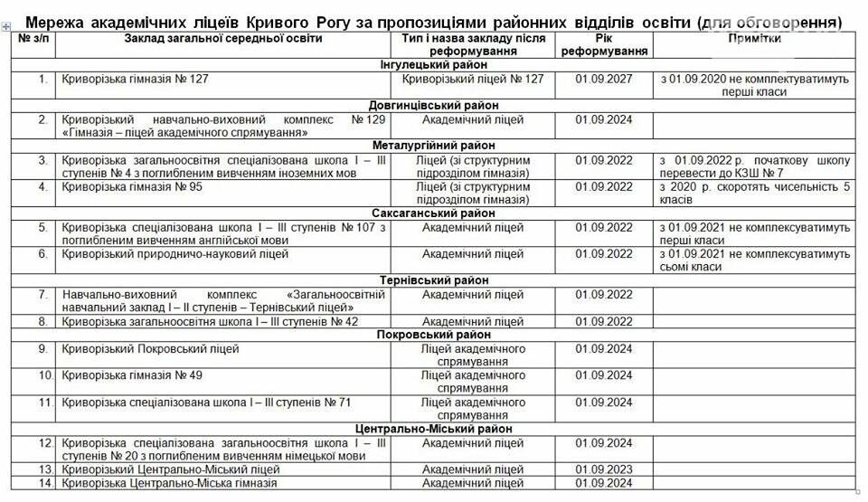 Депутат: в Кривом Роге в прошлом году не открыли 10-е классы в 22 школах. В планах - оставить 14 академических лицеев, фото-1