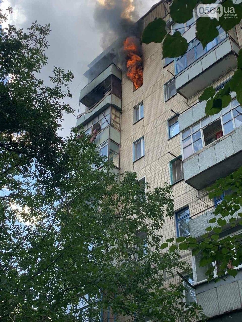 Во время пожара в криворожской многоэтажке спасли двоих людей, - ФОТО , фото-5