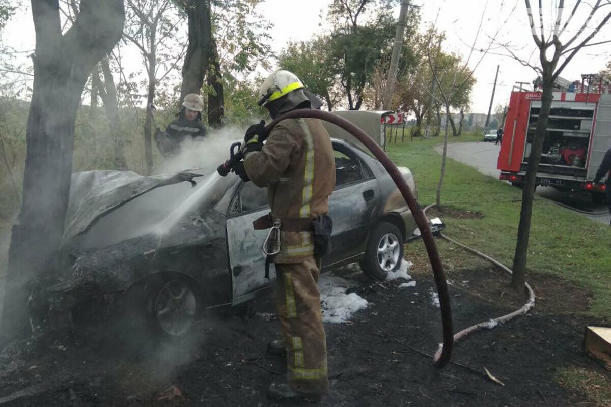 В Кривом Роге автомобиль влетел в дерево и загорелся. Водитель скрылся с места ДТП, - ФОТО, фото-2
