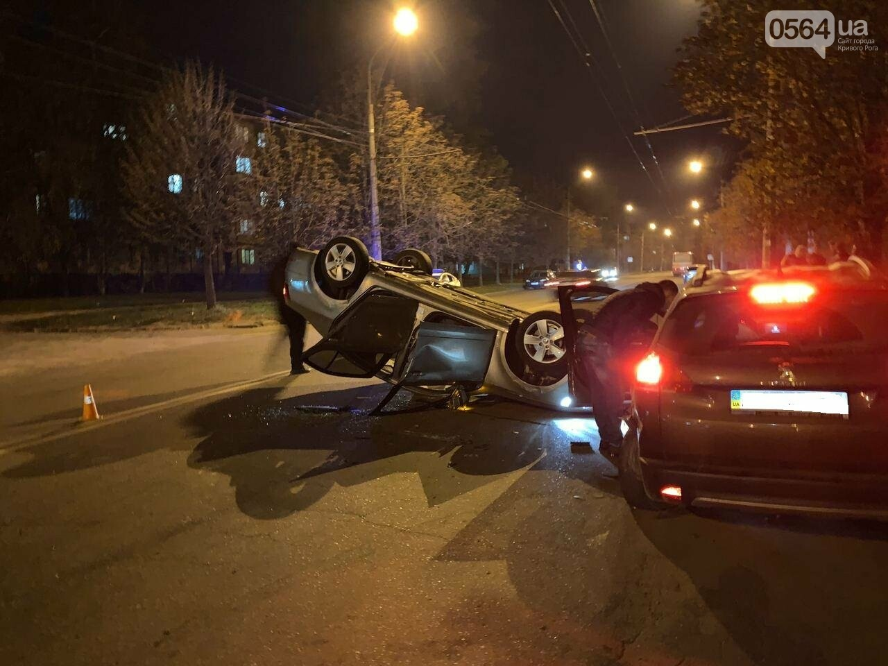 """В Кривом Роге """"Skoda"""" влетела в припаркованный автомобиль """"Peugeot"""" и перевернулась на крышу, - ФОТО, ИСПРАВЛЕНО, фото-5"""