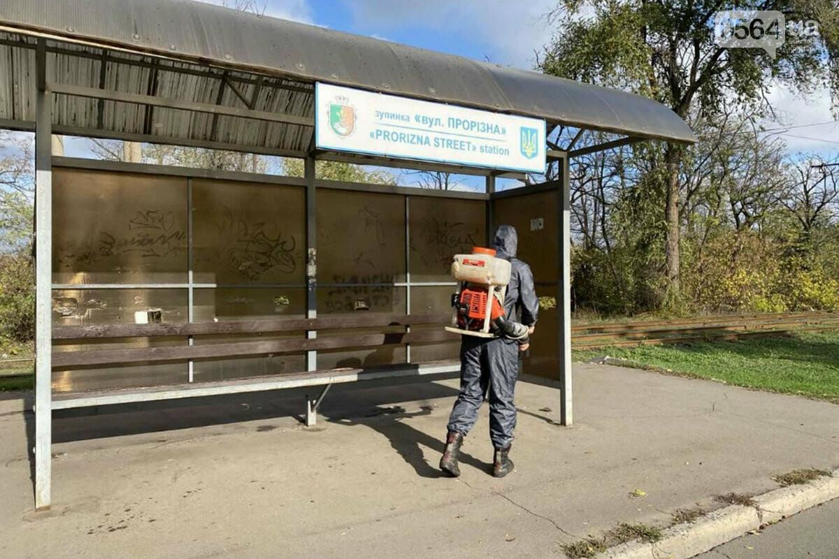 В Кривом Роге чрезвычайники продезинфицировали остановки и места скопления людей, - ФОТО, ВИДЕО , фото-3