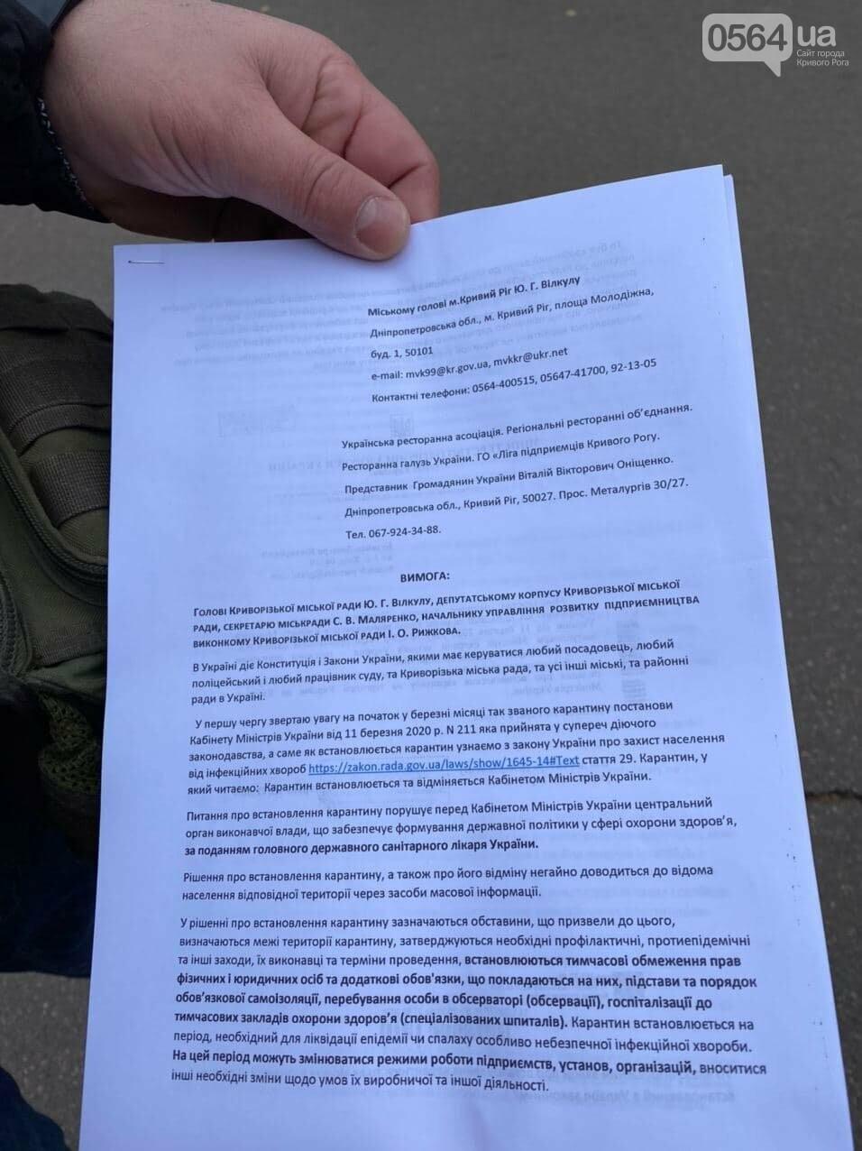 Представители малого бизнеса продолжили протест возле мэрии Кривого Рога, - ФОТО, ВИДЕО, фото-1