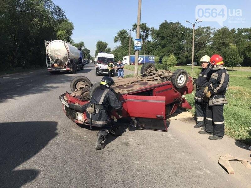 В Кривом Роге автомобиль перевернулся на крышу, - ФОТО, фото-1