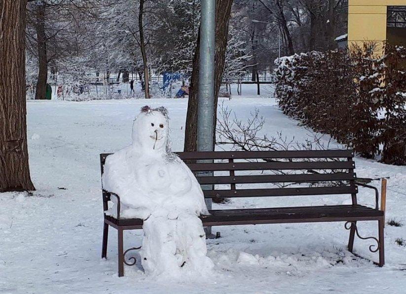 Снежный флешмоб в Кривом Роге: Горожане вылепили огромного Почекуна и сотни снеговиков (ФОТО), фото-9