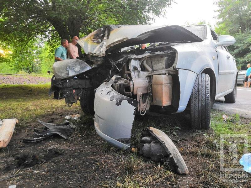 В Кривом Роге легковушка с детьми врезалась в дерево и загорелась, - ФОТО, фото-1