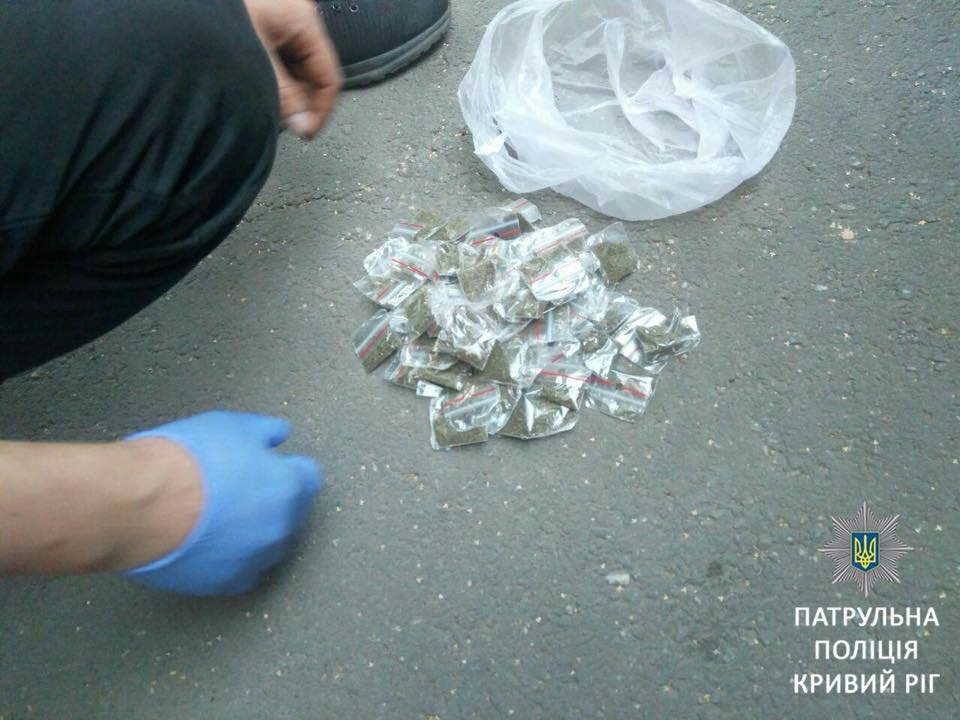"""Патрульные выявили двух криворожан, которые перевозили в """"ВАЗе"""" более 100 пакетов с """"травкой"""", - ФОТО, фото-1"""