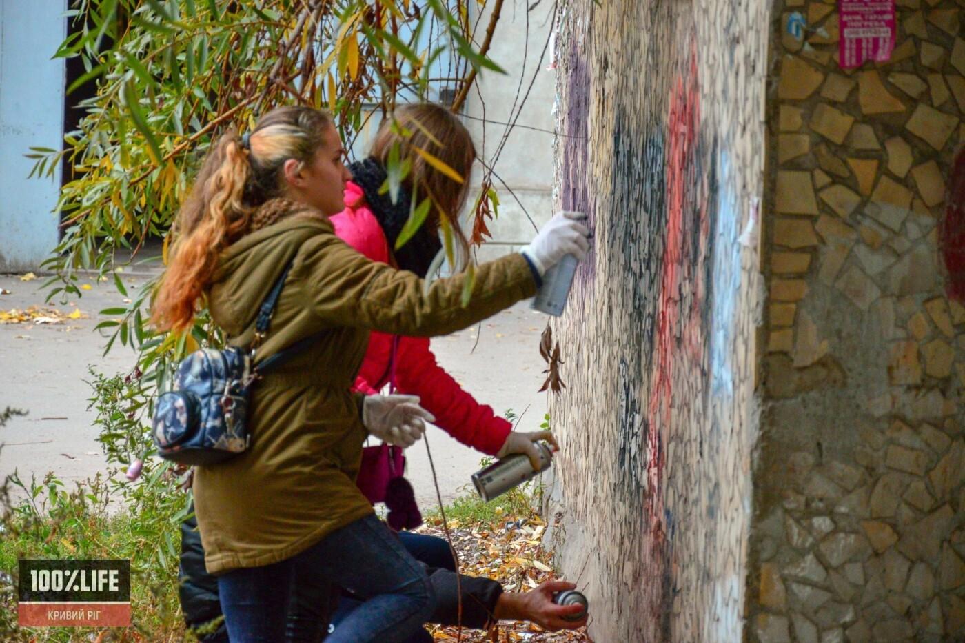 Криворожские подростки вместе с копами зарисовывали незаконную рекламу наркотиков, - ФОТО , фото-7