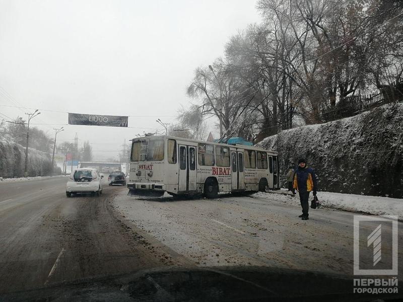 В Кривом Роге троллейбус с пассажирами вынесло на обочину, - ФОТО, фото-3