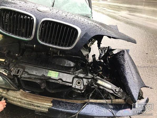 На мокрой дороге в Кривом Роге иномарку занесло в столб, - ФОТО, фото-2
