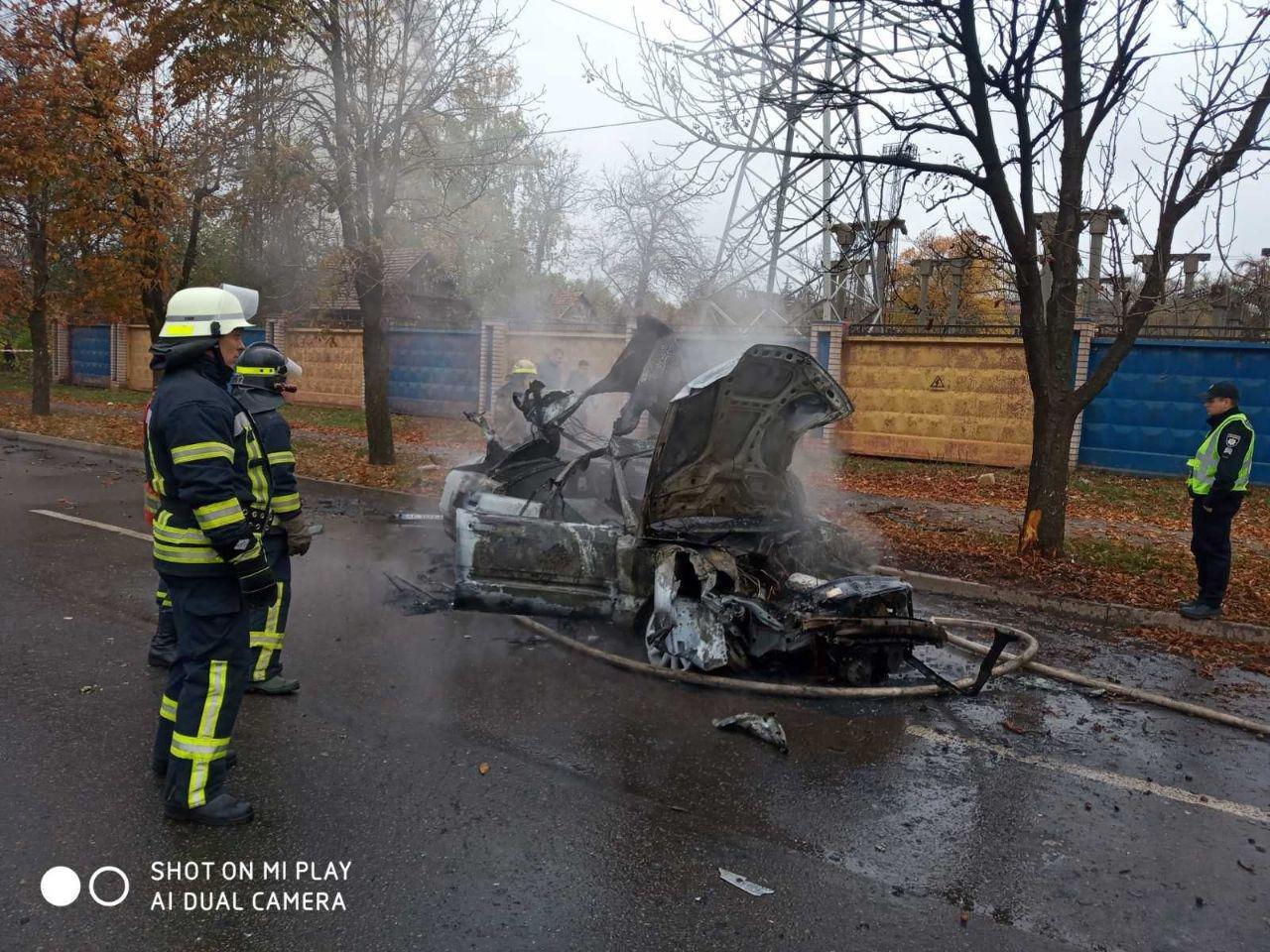 После столкновения с деревом в Кривом Роге сгорела иномарка. Водитель госпитализирована, - ФОТО, ВИДЕО, фото-2