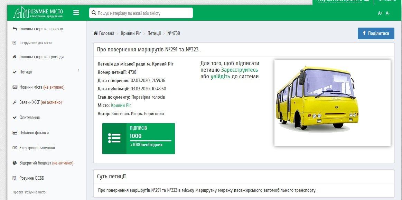 Петиция криворожан о возвращении маршрутов №291 и №323 набрала 1000 голосов, фото-1