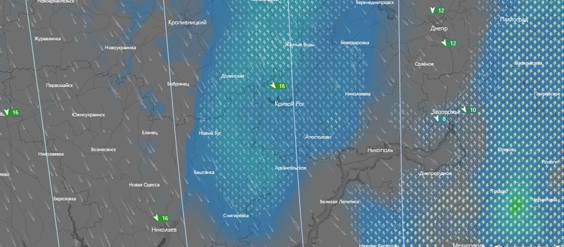 погода в Кривом Роге 8 июля, www.windy.com