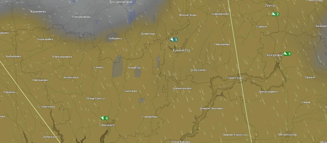 погода в Кривом Роге 9 июля, www.windy.com