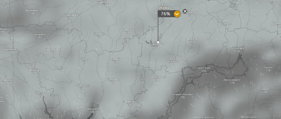 прогноз погоды в Кривом Роге 16 июля, www.windy.com