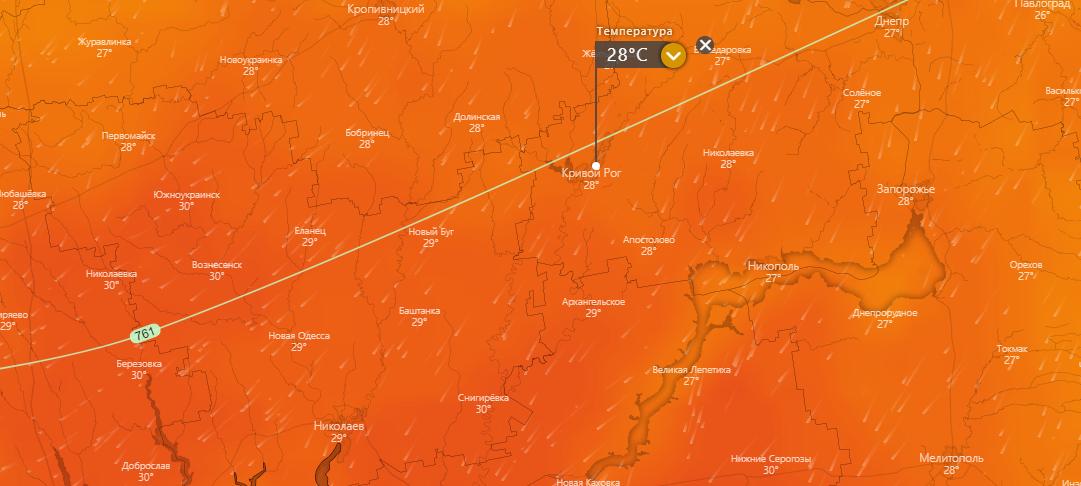 погода в Кривом Роге 18 июля, www.windy.com