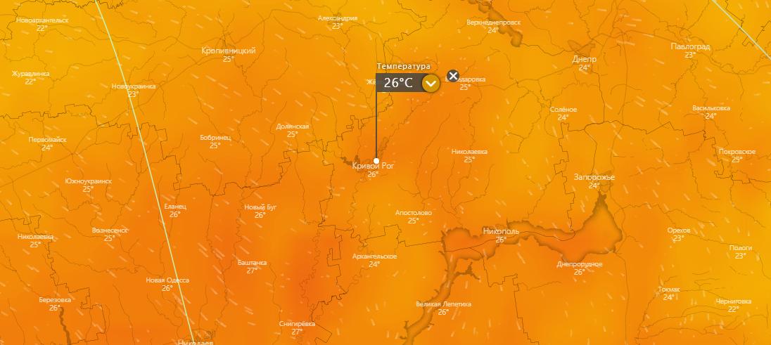 погода в Кривом Роге 22 июля, www.windy.com