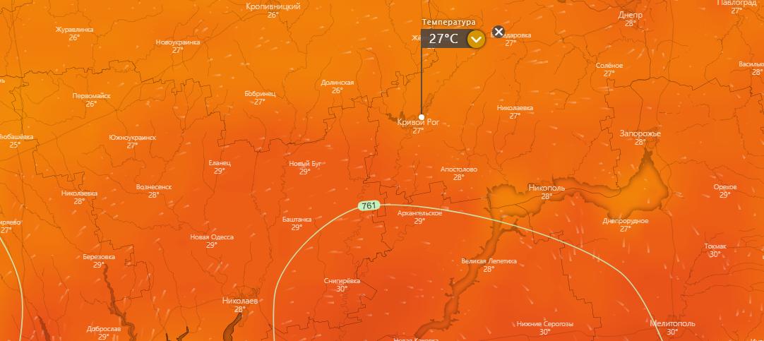 погода в Кривом Роге 24 июля, www.windy.com