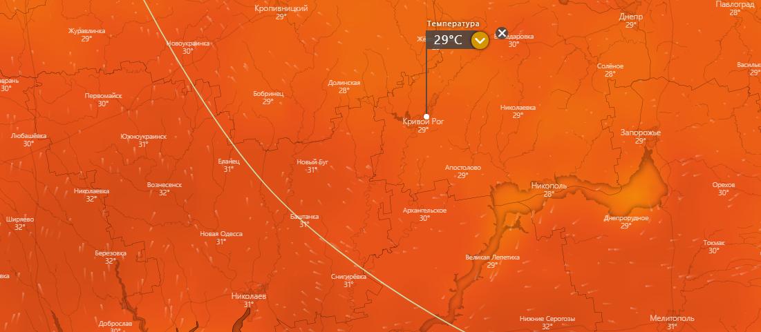 погода в Кривом Роге 25 июля, www.windy.com