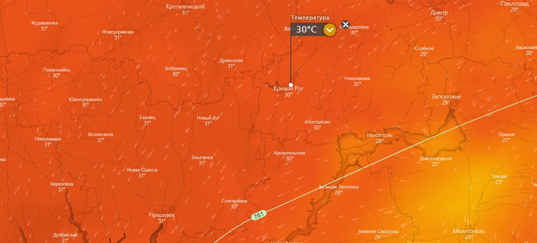 погода в Кривом Роге 28 июля, www.windy.com