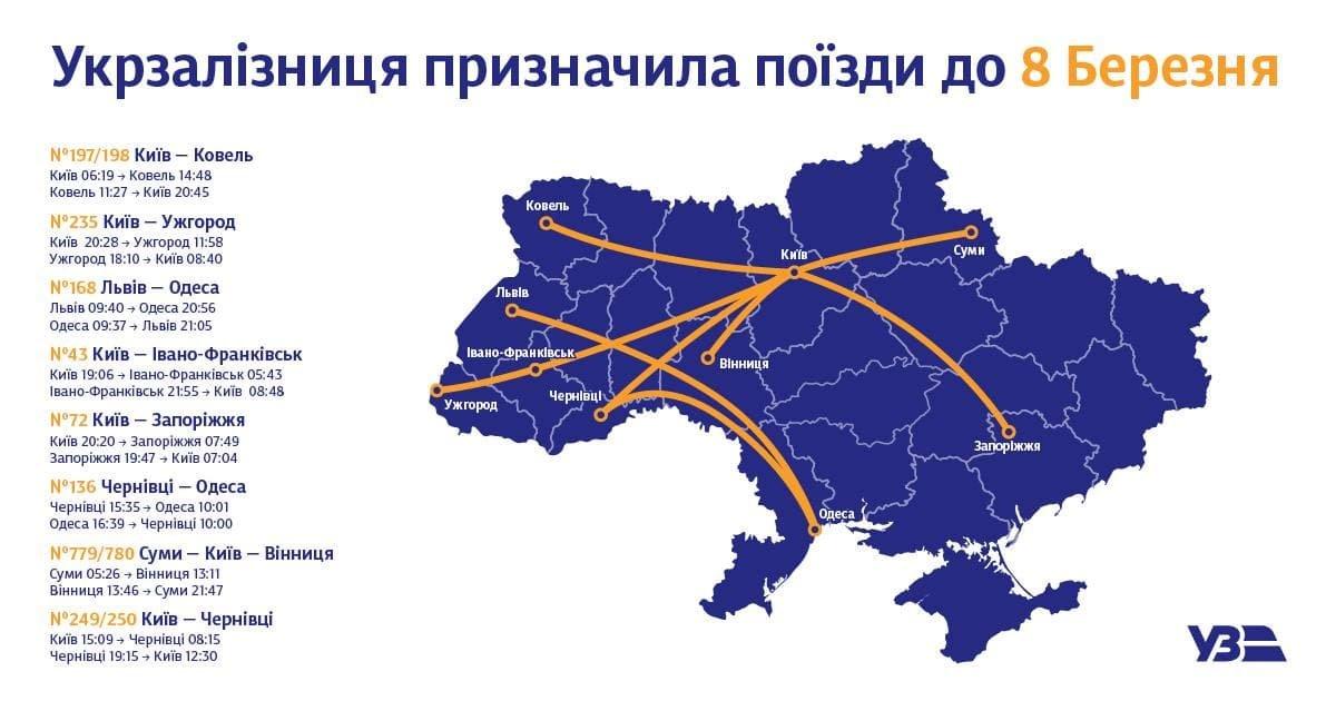 К 8 Марта - 8 поездов: среди назначенных к празднику дополнительных поездов 1 следует через Кривой Рог, фото-1