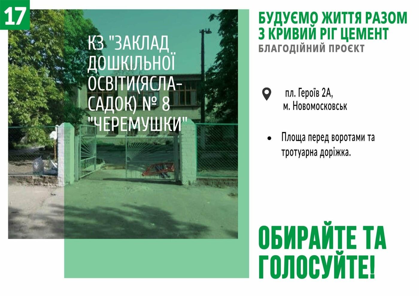 Начато голосование за объекты в рамках благотворительного проекта от компании «Кривой Рог Цемент», фото-17