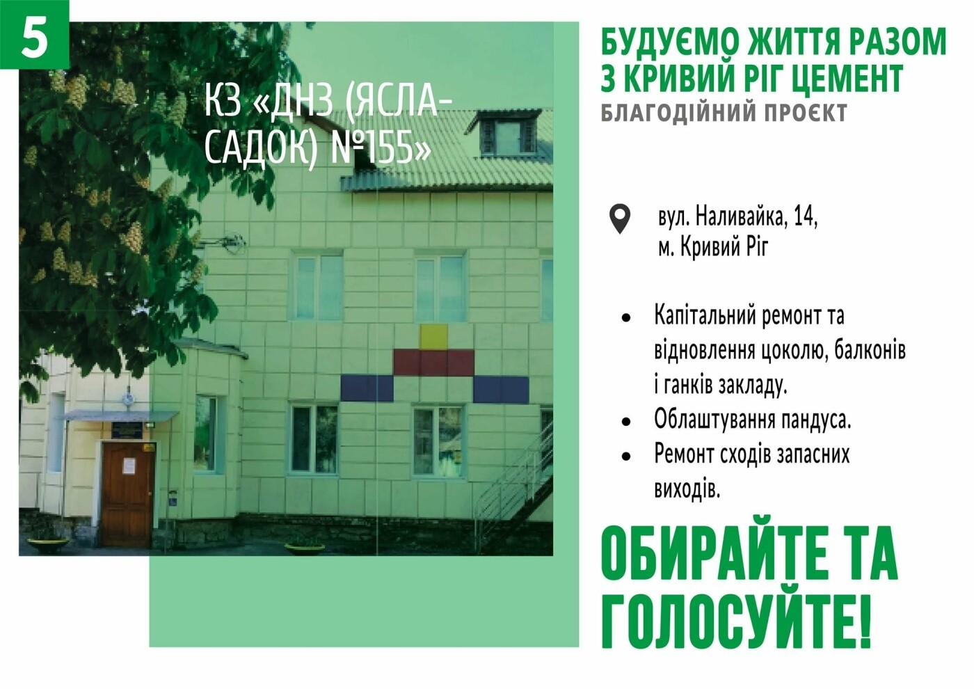 Начато голосование за объекты в рамках благотворительного проекта от компании «Кривой Рог Цемент», фото-5