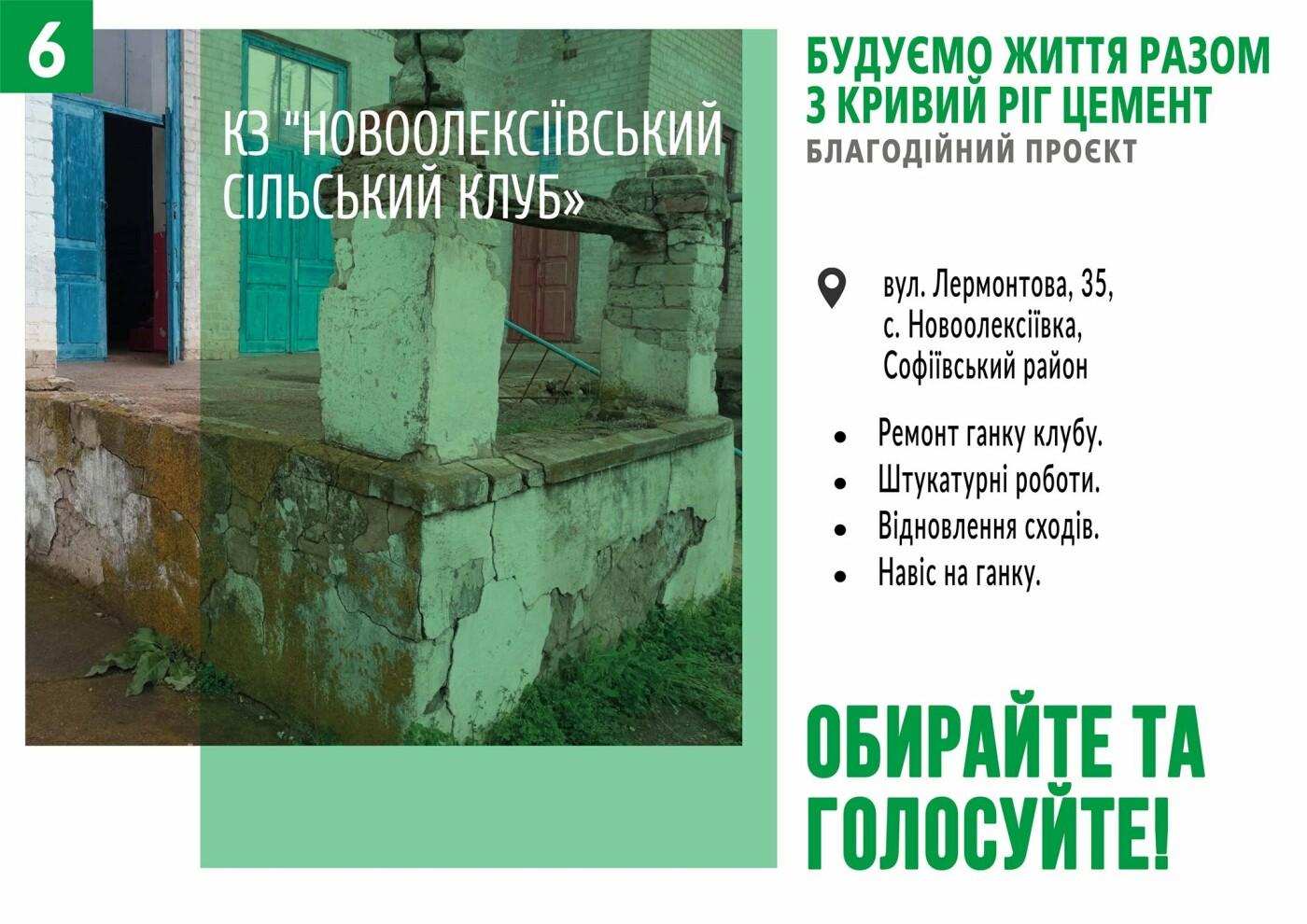 Начато голосование за объекты в рамках благотворительного проекта от компании «Кривой Рог Цемент», фото-6
