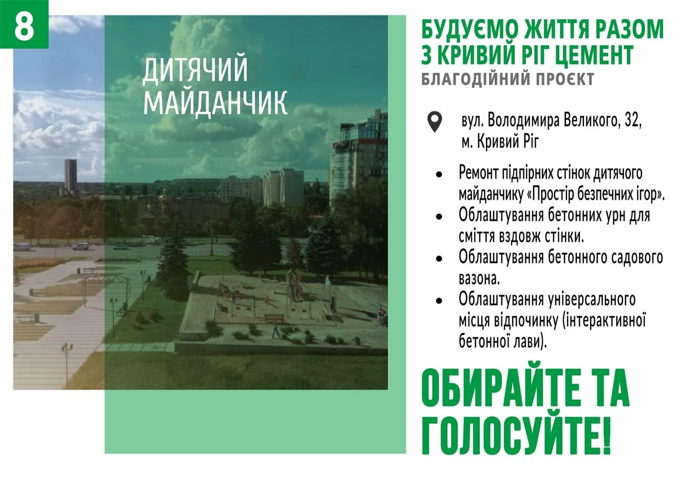 Начато голосование за объекты в рамках благотворительного проекта от компании «Кривой Рог Цемент», фото-8
